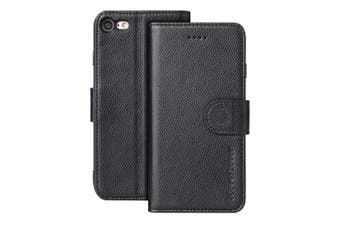 For iPhone SE (2020) / 8 / 7 Case, Genuine Cow Leather Wallet Cover,Black