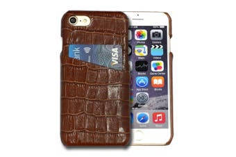 For iPhone SE (2020) / 8 / 7 Case, Crocodile Shell Genuine Cow Leather,Dark Brown