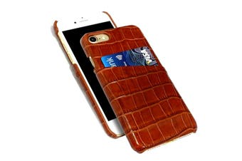 For iPhone SE (2020) / 8 / 7 Case, Crocodile Shell Genuine Cow Leather,Light Brown