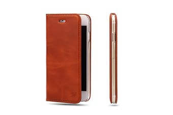 For iPhone 8 PLUS,7 PLUS Wallet Case,Fashion Oilwax Genuine Leather,Light Brown
