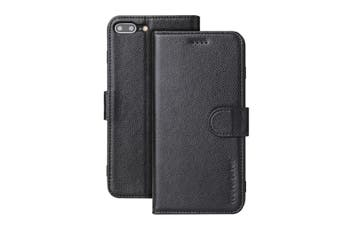 For iPhone 8 PLUS,7 PLUS Cover,iCoverLover Genuine Leather Wallet Case,Black