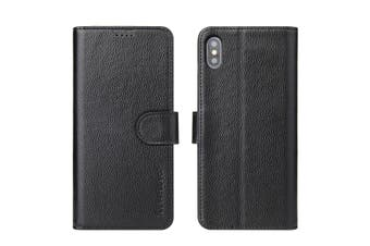 For iPhone XS,X Cover,iCoverLover Genuine Cow Leather Wallet Flip Case,Black