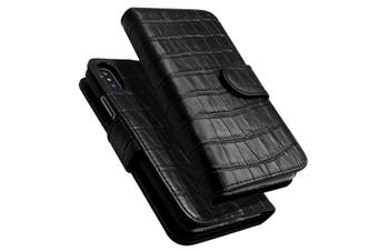 For iPhone XS,X Case,iCoverLover Crocodile Texture Genuine Leather Wallet,Black