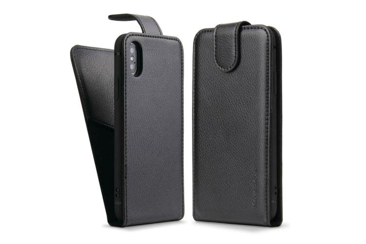iCoverLover Black Vertical Flip Genuine Leather For iPhone XS,X Case