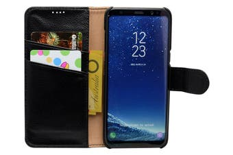 For Samsung Galaxy S8 Case Fashion Wallet Cowhide Genuine Leather Cover Black