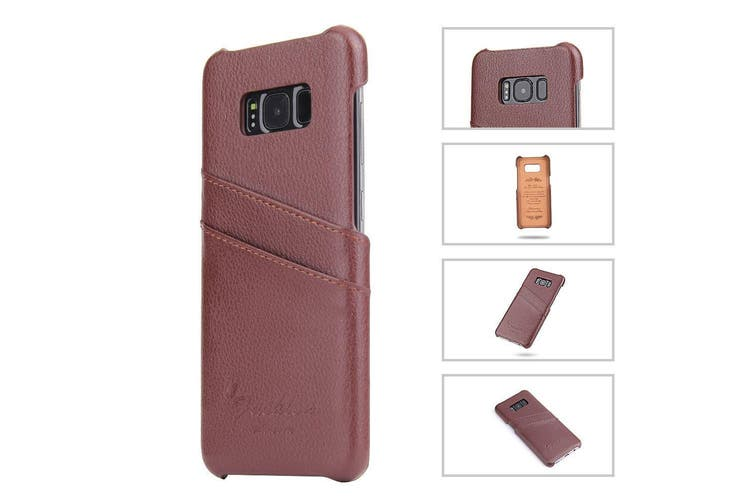 For Samsung Galaxy S8 PLUS Case,Handmade Genuine Leather Fashion Cover,Brown