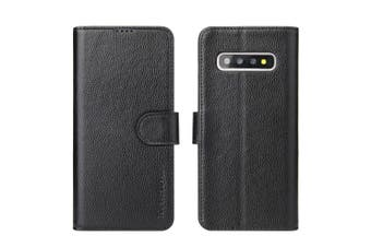 For Samsung Galaxy S10 Wallet Case,iCoverLover Real Cow Leather Cover,Black