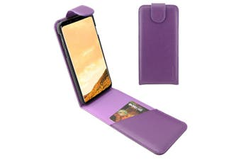 For Samsung Galaxy S8 Case,iCL Vertical Flip Genuine Leather Cover,Purple