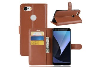 For Google Pixel 3 Leather Wallet Case Brown Lychee Texture Cover,Card Slots