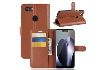 For Google Pixel 3 XL Leather Wallet Case Brown Lychee Cover,Stand,Card Slots