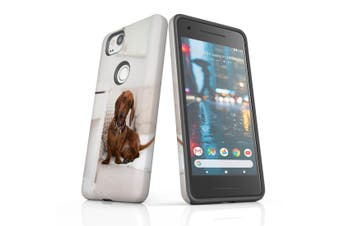 For Google Pixel 2 Case, Protective Back Cover, Laying Red Dachshund