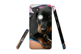 For Google Pixel 2 XL Case, Protective Back Cover, Blac & Tan Dachshund Puppy