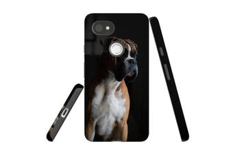 For Google Pixel 2 XL Case, Protective Back Cover, Tan & White Boxer