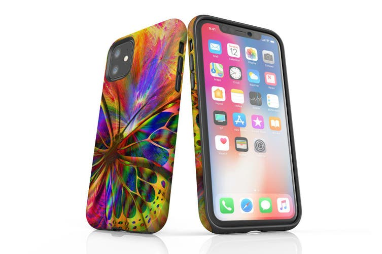 For iPhone 11 Case  Protective Back Cover  Psychedelic Butterfly