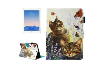 For iPad 2018,2017 Wallet Case,Cats Butterflies Smart Durable Leather Cover