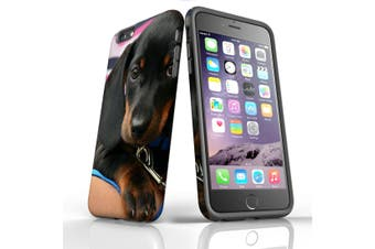 For iPhone 6S Plus Case, Protective Back Cover, Blac & Tan Dachshund Puppy