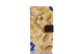 For iPhone 8 PLUS,7 PLUS Wallet Case,Stylish Flower Pattern Leather Cover,Yellow
