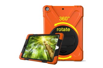 For iPad 2018,2017 9.7-inch Orange Hand-strap Armour Case