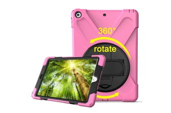 For iPad 2018,2017 9.7-inch Pink Hand-strap Armour Case