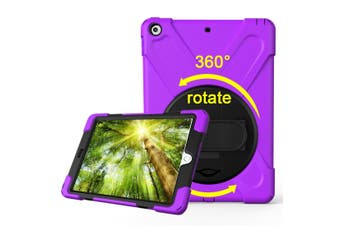 For iPad 2018,2017 9.7-inch Purple Hand-strap Armour Case