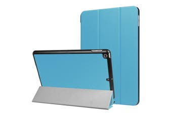 For iPad 2018,2017 9.7in Case,Stylish Karst Textured 3-fold Leather Cover,Blue