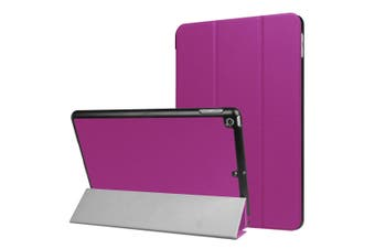 For iPad 2018,2017 9.7in Case,Stylish Karst Textured 3-fold Leather Cover,Purple
