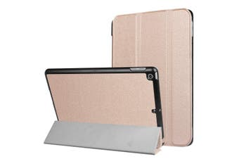 For iPad 2018,2017 9.7in Case,Karst Textured 3-fold Leather Cover,Rose Gold