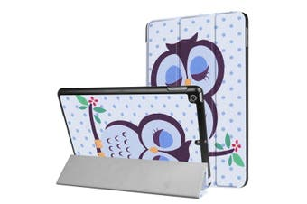 For iPad 2018 2017 9.7in Case Sleepy Owl Durable Protective 3-fold Leather Cover