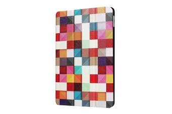 For iPad 2018 2017 Case Colorful Grid Durable Protective 3-fold Leather Cover