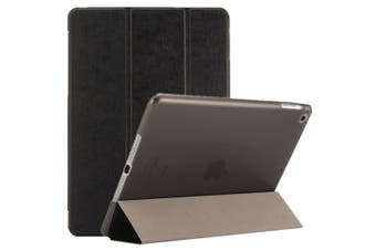 For iPad 2018,2017 9.7in Case,Elegant Silk Textured 3-fold PU Leather Cover,Black