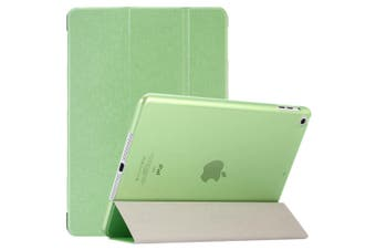 For iPad 2018,2017 9.7in Case,Elegant Silk Textured 3-fold PU Leather Cover,Green