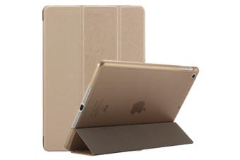 For iPad 2018,2017 9.7in Case,Elegant Silk Textured 3-fold PU Leather Cover,Gold
