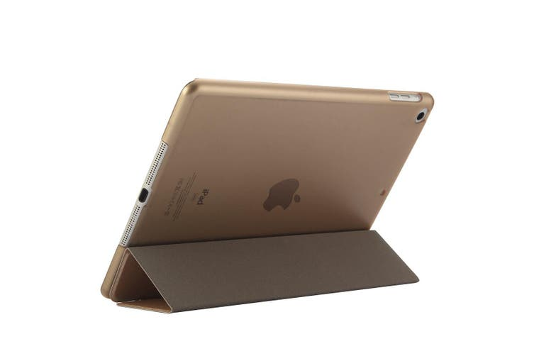 For iPad 2018 2017 9.7in Case Elegant Silk Textured 3-fold PU Leather Cover Gold