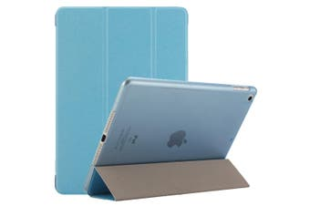 For iPad 2018 2017 9.7in Case Elegant Silk Textured 3-fold PU Leather Cover Blue