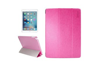 For iPad 2018 2017 9.7in Case Elegant Silk Textured Smart Leather Cover Magenta