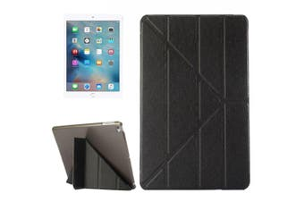 For iPad 2018,2017 Case,Elegant Silk Textured 3-folding Leather Cover,Black