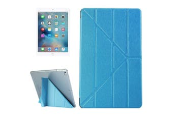 For iPad 2018,2017 9.7in Case,Elegant Silk Textured 3-folding Leather Cover,Blue