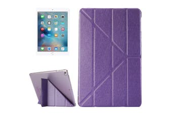 For iPad 2018,2017 Case,Elegant Silk Textured 3-folding Leather Cover,Purple