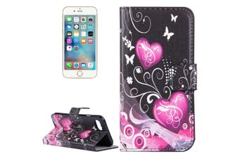 For iPhone SE (2020) / 8 / 7 Wallet Case,Hearts, Butterflies Protective Leather Cover