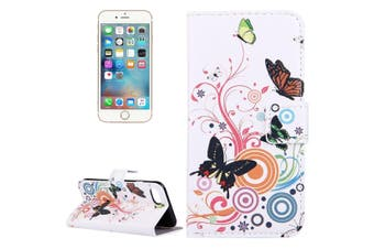 For iPhone SE (2020) / 8 / 7 Wallet Case,Colourful Butterflies Protective Leather Cover