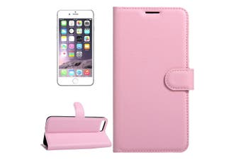 For iPhone SE (2020) / 8 / 7 Wallet Case,Lychee Protective Leather Cover,Pink