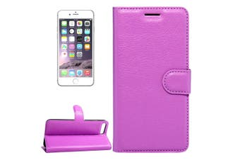 For iPhone SE (2020) / 8 / 7 Wallet Case, Lychee Protective Leather Cover,Purple