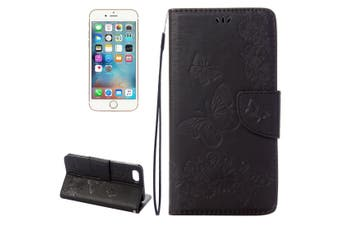 For iPhone SE (2020) / 8 / 7 Wallet Case,Butterflies Embossed Leather Cover,Black