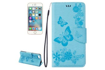 For iPhone SE (2020) / 8 / 7 Wallet Case,Butterflies Embossed Leather Cover,Blue