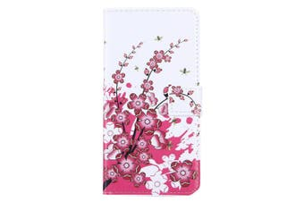 For iPhone 8 PLUS,7 PLUS Wallet Case,Stylish Plum Blossoming Leather Cover,Red