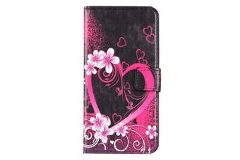 For iPhone 8 PLUS,7 PLUS Wallet Case,Blossoming Heart Protective Leather Cover
