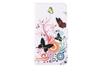 For iPhone 8 PLUS,7 PLUS Wallet Case,Colourful Butterflies Durable Leather Cover
