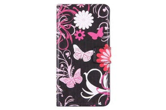 For iPhone 8 PLUS,7 PLUS Wallet Case,Stylish Butterflies Leather Cover,Pink