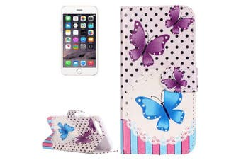 For iPhone 8 PLUS,7 PLUS Wallet Case,Modish Butterfly Leather Cover,Purple, Blue
