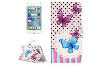 For iPhone 8 PLUS,7 PLUS Wallet Case,Fancy Butterfly Durable Cover,Purple, Blue